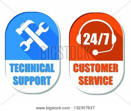 technical support with tools sign and 24/7 customer service with headset symbol, two elliptic flat design labels with icons, business attendance concept, vector