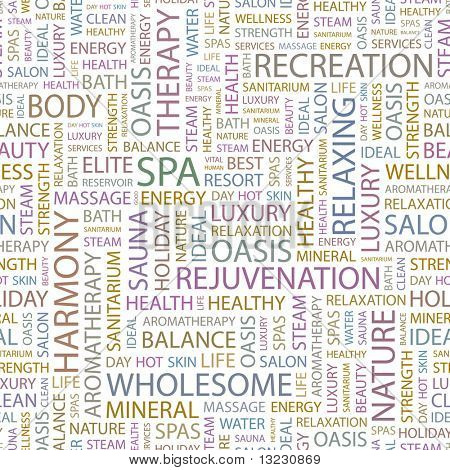 SPA. Seamless vector background. Wordcloud illustration.