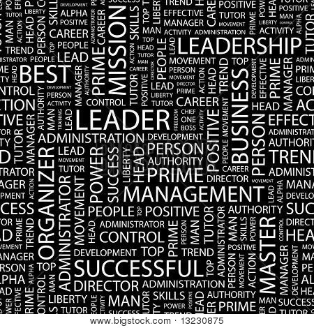 LEADER. Seamless vector pattern with word cloud.