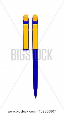 yellow pen with blue trident to write the