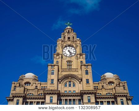 The  iconic Liver building in Liverpool,Merseyside,UK with blue sky