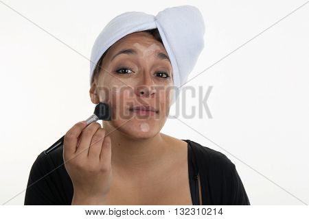 Make Up Woman Face. Contour And Highlight Makeup With Brush