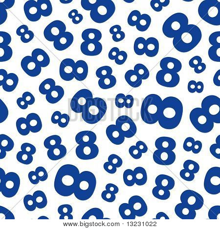 Eight. Seamless pattern with number mix.