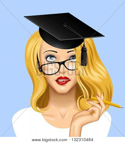 Face of a pretty blonde girl in glasses looking up with a graduate cap on her head. Education concept illustration