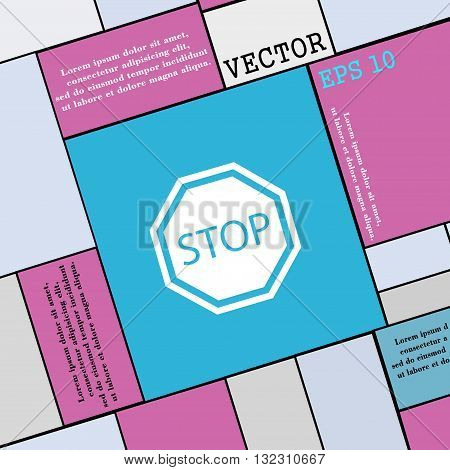 Stop Icon Sign. Modern Flat Style For Your Design. Vector