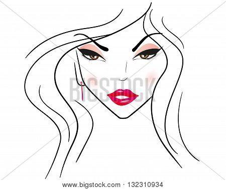 Silhouette of a woman . Facial features. Logo . Vector