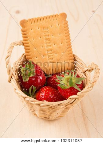 Strawberries In Natural Background With Cake For Tea Time
