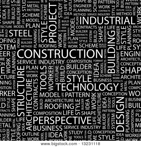 CONSTRUCTION. Seamless vector background. Wordcloud illustration.