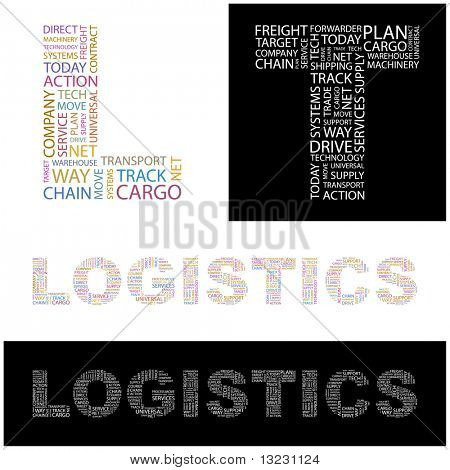 LOGISTICS. Word collage. Vector illustration.