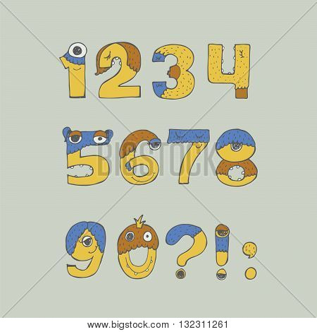 Colorful vector illustration with childish numbers monster font isolated on background. Hand drawn digit sequence from 1 to 9 good for kids cartoon lettering design dedicated to monsters aliens