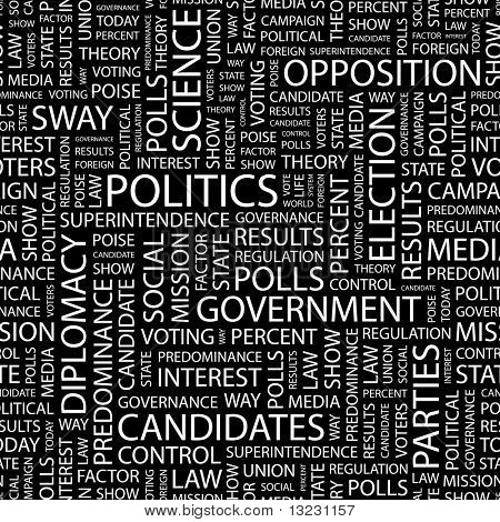 POLITICS. Seamless vector background. Wordcloud illustration.