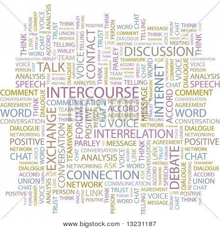 INTERCOURSE. Word collage on white background. Vector illustration.