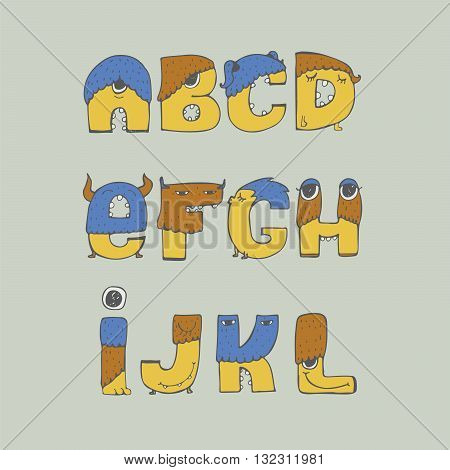 Colorful vector illustration with childish fun monster font isolated on background. Hand drawn letters sequence from A to L good for kids cartoon lettering design dedicated to monsters and aliens.