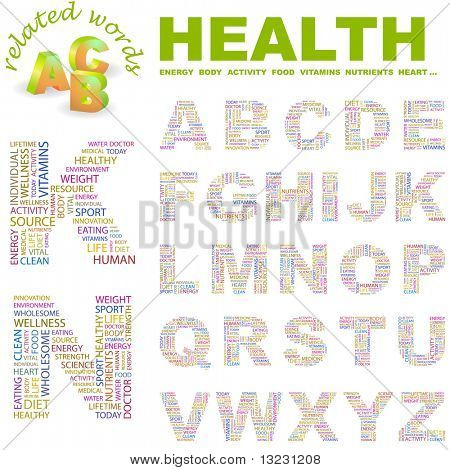 HEALTH. Vector letter collection. Wordcloud illustration.