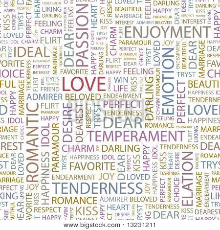 LOVE. Seamless vector pattern with word cloud.