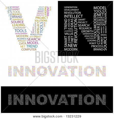 INNOVATION. Word collage. Vector illustration.