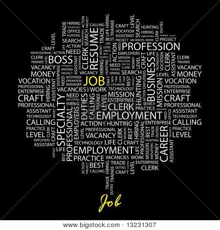 JOB. Word collage on black background. Vector illustration.