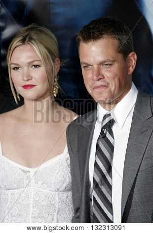 Julia Stiles and Matt Damon at the Los Angeles premiere of 'The Bourne Ultimatum' held at the ArcLight Cinemas in Hollywood, USA on July 25, 2007.