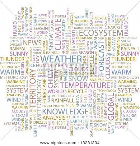 WEATHER. Word collage on white background. Vector illustration.