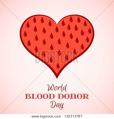 Vector Red Drops of Blood in Shape of Heart. Element for the World Blood Donor Day and other medical projects and design. Red Heart Icon. Medical Blood Donation Design Elements.