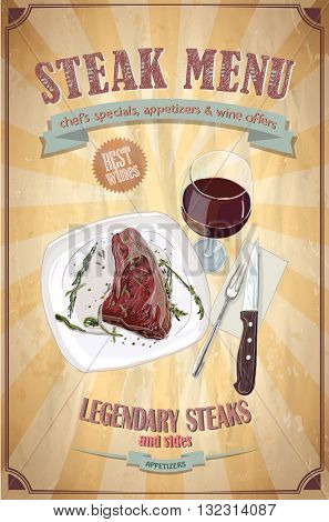 Steak menu design with graphic illustrati  on of a fillet mignon steak on a plate and glass of wine, vintage paper backdrop
