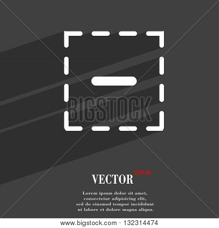 The Minus In A Square Symbol Flat Modern Web Design With Long Shadow And Space For Your Text. Vector