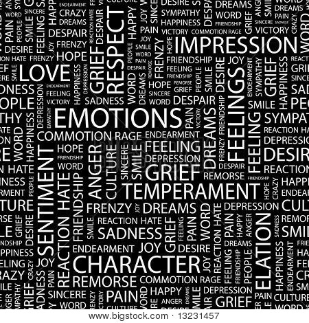 EMOTIONS. Word collage on black background. Vector illustration.