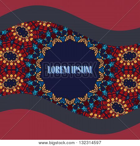 Stylized Oriental Postcard. Round Ornamental Symmetry Pattern. Vintage decorative element. Hand drawn artwork. Islamic, Arabic, Persian, Indian, Ottoman Artwork.