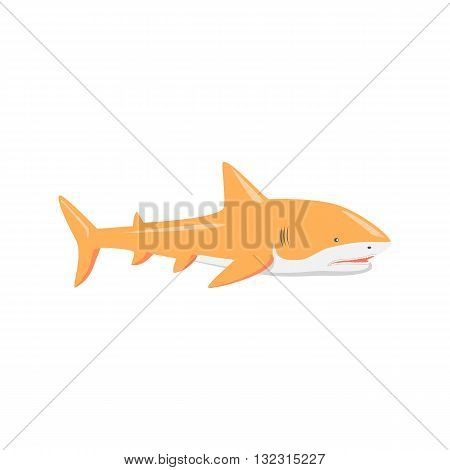 Marine predator shark design flat. Dangerous predator shark with fins and tail and sharp teeth. Aggressive fish creation of nature in orange color living in the ocean or the sea. Vector illustration