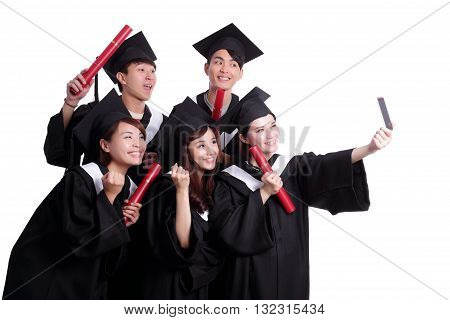 Selfie - group of happy graduates student taking pictures by themselves isolated on white background asian