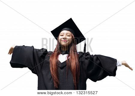 happy graduate student girl hug future and feel carefree look up to copy space she wear graduation cap and gown asian