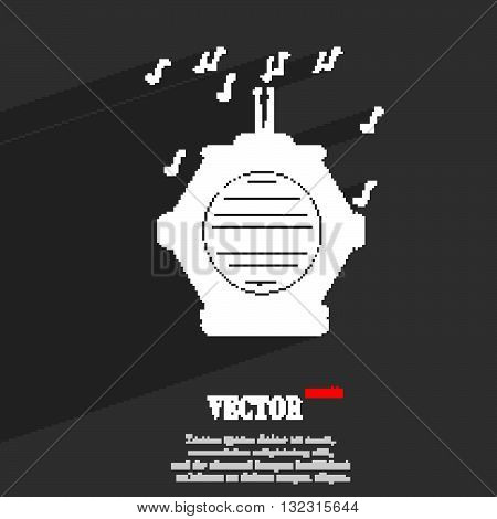 Old Analog Radio Symbol Flat Modern Web Design With Long Shadow And Space For Your Text. Vector