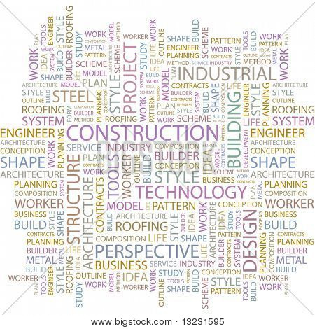 CONSTRUCTION. Word collage on white background. Vector illustration.