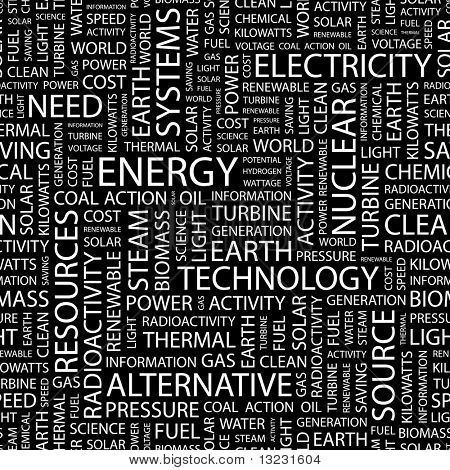 ENERGY. Seamless vector background. Wordcloud illustration.