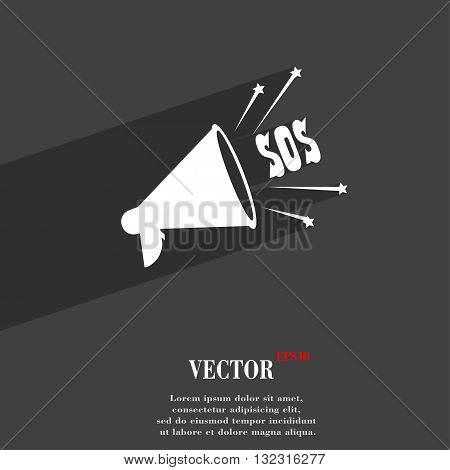 Sos Web Speaker Symbol Flat Modern Web Design With Long Shadow And Space For Your Text. Vector