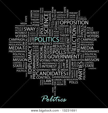 POLITICS. Word collage on black background. Vector illustration.