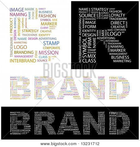 BRAND. Word collage. Vector illustration.