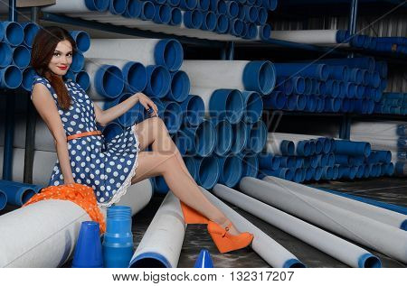 The sexual girl with PVC pipes