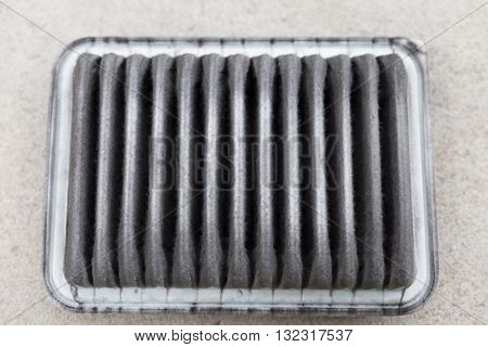 dirty clogged air filter of car automobile