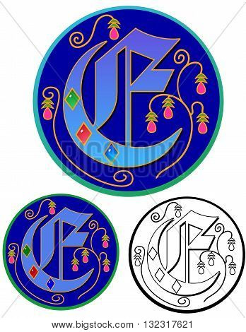 Upper case monogram icon of the letter E in Medieval calligraphy.