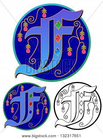 Initial letter, round monogram upper case F