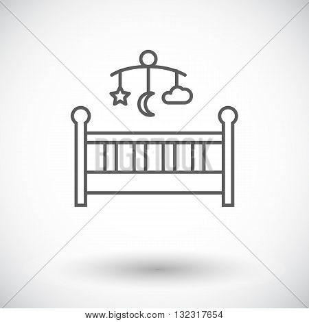 Baby bed icon. Thin line flat vector related icon for web and mobile applications. It can be used as - logo, pictogram, icon, infographic element. Vector Illustration.