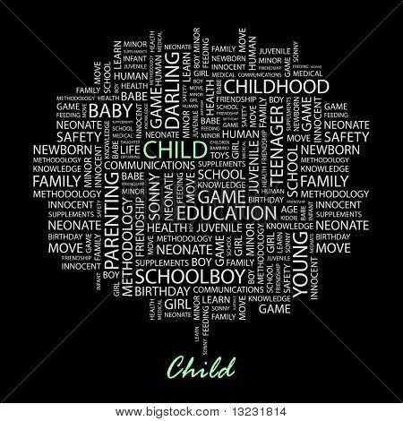 CHILD. Word collage on black background. Vector illustration.