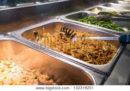 Chinese food Lo mein buffet self service lunch or dinner