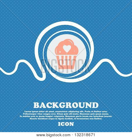 Cute Lovely Cupcake With Heart Sign. Blue And White Abstract Background Flecked With Space For Text