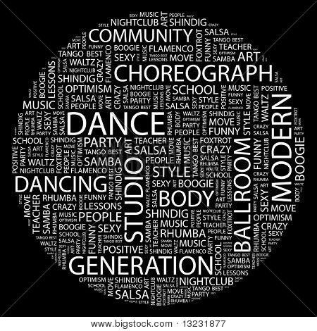 DANCE. Word collage on black background. Vector illustration.