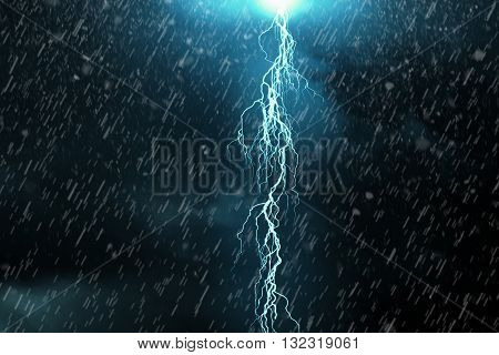 Lightning - a dark cloudy sky with lightning and rain