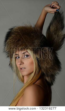 Beautiful Blond Woman in Fur Cap