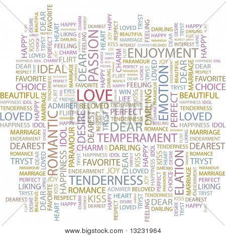 LOVE. Word collage on white background. Vector illustration.