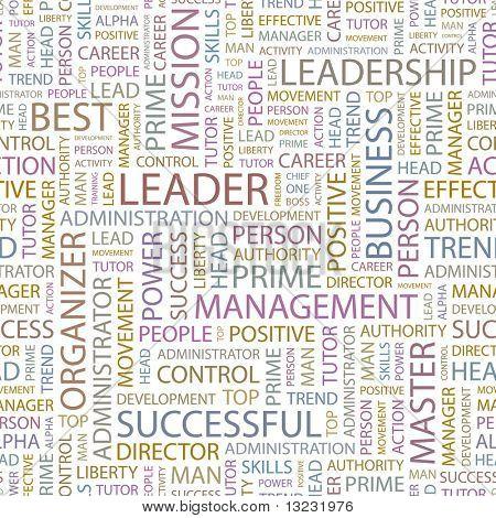 LEADER. Seamless vector background. Wordcloud illustration.